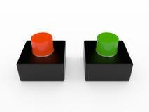 Кнопка сигнала тревоги, 3D Иллюстрация штока