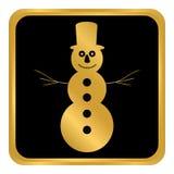 Кнопка снеговика на белизне Стоковые Изображения RF