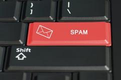 Кнопка спама в красном цвете на клавиатуре Стоковая Фотография RF