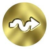 кнопка стрелки 3d золотистая Стоковые Фото