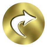 кнопка стрелки 3d золотистая Стоковые Изображения