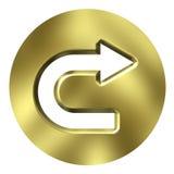 кнопка стрелки 3d золотистая иллюстрация вектора