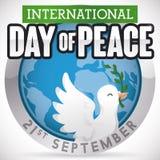 Кнопка с глобусом, голубем и ветвью на день мира, иллюстрации вектора Стоковые Фотографии RF