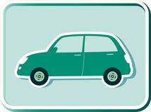 Кнопка с зеленым ретро автомобилем Стоковое Изображение RF