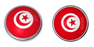 кнопка Тунис знамени Стоковые Фотографии RF