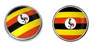 кнопка Уганда знамени Стоковая Фотография