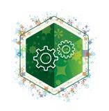 Кнопка шестиугольника зеленого цвета картины заводов значка процесса установок флористическая стоковые изображения