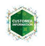Кнопка шестиугольника зеленого цвета картины заводов информации для потребителей флористическая стоковые изображения rf