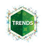 Кнопка шестиугольника зеленого цвета картины заводов тенденций флористическая стоковые изображения