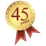 кнопка юбилея золота - 45 лет иллюстрация штока