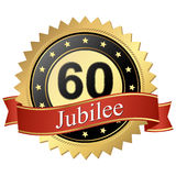 Кнопка юбилея с знаменами - 60 летами бесплатная иллюстрация