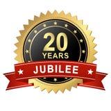 Кнопка юбилея с знаменем - 20 ЛЕТАМИ Стоковые Фотографии RF