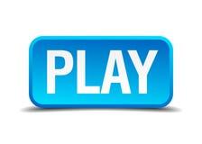 Кнопка 3d игры голубая реалистическая квадратная Стоковое Изображение RF