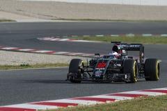 Кнопка Jenson водителя Команда Mclaren Honda Стоковое фото RF