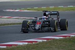 Кнопка Jenson водителя Команда Mclaren Honda Стоковые Фотографии RF
