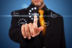 кнопки бизнесмена отжимая просто тип старта Стоковые Изображения
