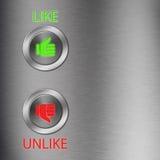 кнопки большой пец руки вниз металлический вверх Стоковое фото RF
