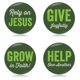 Кнопки год сбора винограда христианские, зеленые иллюстрация вектора