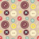 Кнопки год сбора винограда шьют безшовную картину Стоковые Фото