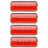 кнопки закрепляя сеть вектора путя иллюстрации Сияющие красные стеклянные кнопки 3d с рамкой металла Отмена, брак, удаление, стоп иллюстрация штока