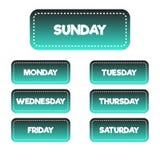 Кнопки/знамена градиента каждого дня недели Чернота к cyan градиенту иллюстрация штока