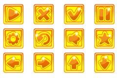 Кнопки золотого квадратного собрания вектора установленные стеклянные для Ui иллюстрация вектора