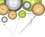 Кнопки, игла с резьбой бесплатная иллюстрация