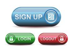 Кнопки имени пользователя и Logout