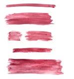 Кнопки/линии покрашенные Watercolour установленные с бургундским цветом Стоковое фото RF