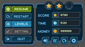 Кнопки интерфейса установили для игр или apps космоса Стоковое фото RF