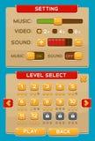 Кнопки интерфейса установленные для игр или apps Стоковые Изображения RF