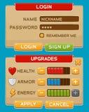 Кнопки интерфейса установленные для игр или apps Стоковое Изображение