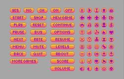 Кнопки искусства пиксела яркие Стоковые Изображения