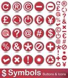 Кнопки и значки символов Стоковое Фото