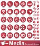 Кнопки и значки средств массовой информации Стоковое фото RF