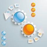 2 кнопки покрашенных шестернями стрелки PiAd 6 частей Стоковое фото RF