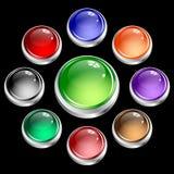 кнопки покрывая вокруг сети серебра комплекта Стоковые Изображения RF