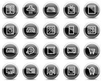 кнопки приборов черные объезжают домашнюю сеть икон Стоковое Фото