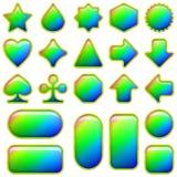 Кнопки радуги стеклянные, комплект Стоковое Изображение RF