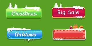 Кнопки сети большого рождества продажи лоснистые в снеге Стоковое Изображение