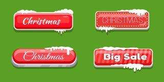 Кнопки сети большой продажи рождества лоснистые в снеге Стоковое Изображение RF