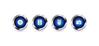Кнопки сети вектора лоснистые голубые иллюстрация вектора