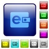Кнопки стекла e-бумажника цвета Стоковые Изображения