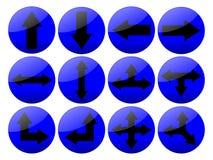 кнопки стрелки голубые shinny Стоковое Фото