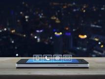 Кнопки телефона, мобильного телефона, на и электронной почты на современном умном пэ-аш Стоковое Изображение