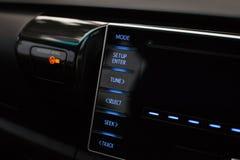 Кнопки управлением мультимедиа в автомобиле Стоковое фото RF