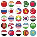 Кнопки флагов Антарктики и русского круглые Стоковое Изображение RF