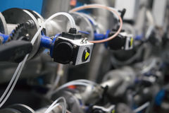 Кнопки для того чтобы контролировать производственное оборудование Стоковые Фото