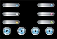 кнопки metal глянцеватая сеть Стоковые Фотографии RF