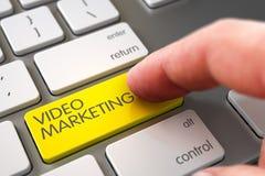 Кнопочная панель маркетинга прессы пальца руки видео- 3d стоковые изображения